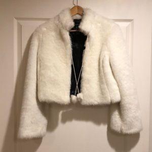 BEBE Faux white rabbit fur jacket